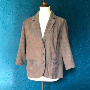 Linen striped 3/4 sleeve 3-button blazer